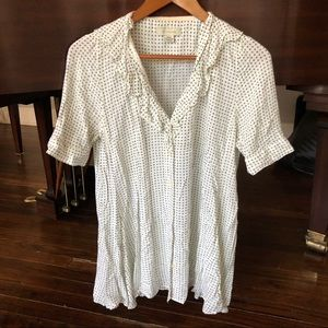 Anthropologie grey and white button down blouse